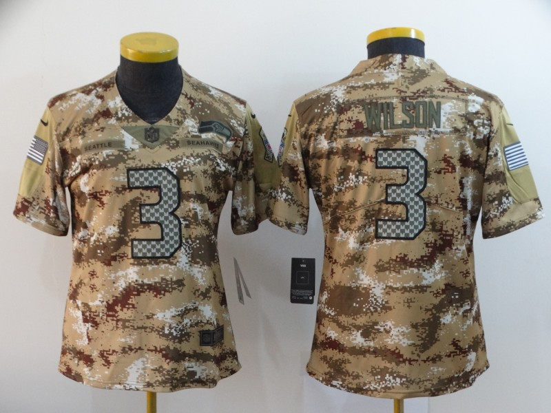 Women's Seattle Seahawks #3 Russell Wilson Camo Salute To Service Stitched NFL Jersey(Run Small)