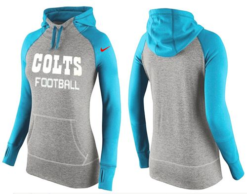 Women's Nike Indianapolis Colts Performance Hoodie Grey & Light Blue