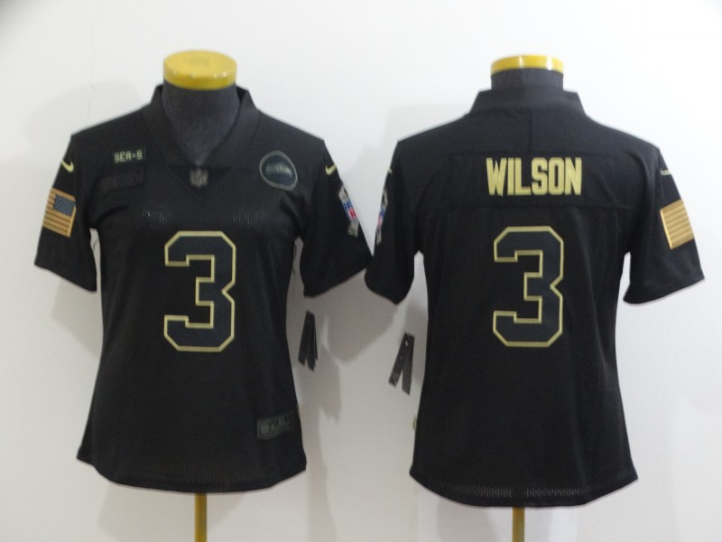 Women's Seattle Seahawks #3 Russell Wilson Black Salute To Service Limited Stitched Jersey(Run Small)