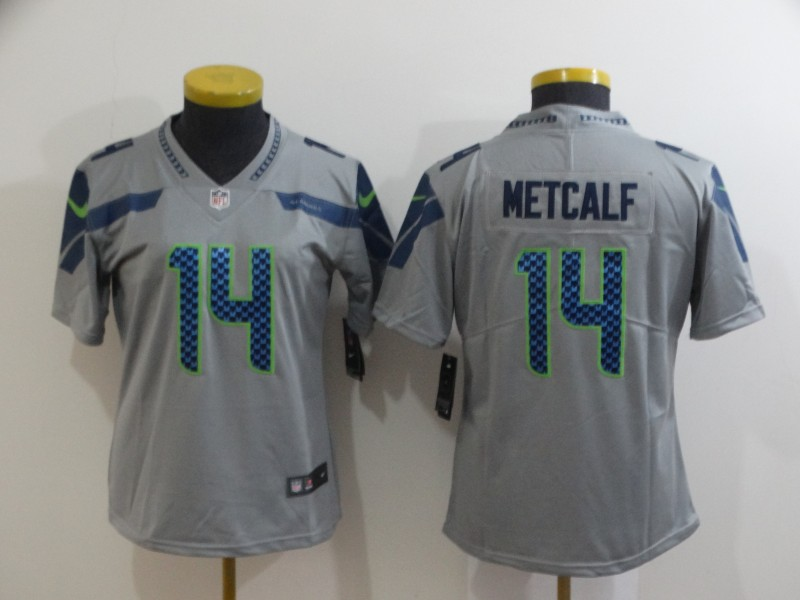 Women's Seattle Seahawks #14 D.K. Metcalf Grey Vapor Untouchable Stitched Jersey(Run Small)