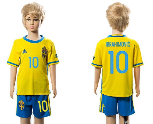 Sweden #10 Ibrahimovic Home Kid Soccer Country Jersey