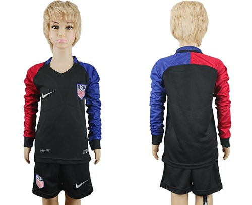 USA Blank Away Long Sleeves Kid Soccer Country Jersey