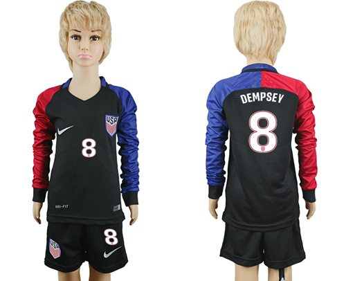 USA #8 Dempsey Away Long Sleeves Kid Soccer Country Jersey