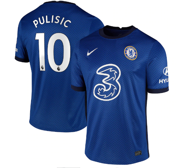 Men's Chelsea #10 Christian Pulisic 2020/21 Blue Soccer Club Home Jersey